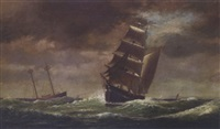 sailing on stormy seas by william formby halsall