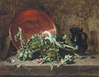 artichokes and radishes with a copper pot on a stone ledge by philippe rousseau