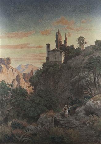 abend in italien by oswald achenbach