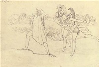 odysseus terrified by the ghosts (illus. for the odyssey) by john flaxman