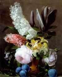 bouquet de fleurs dans un vase sur un entablement by edouard joseph françois autrique
