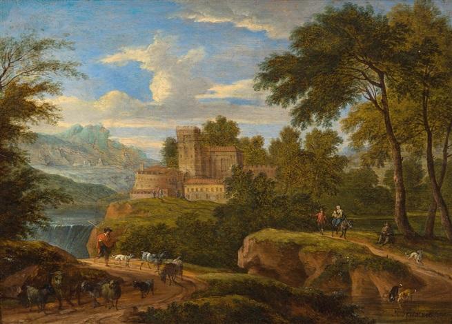 paysage méditerranéen avec bétail et personnages by mathys schoevaerdts