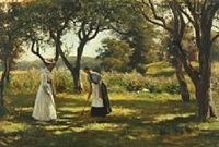 a garden in hornbæk with the daughter of otto bache, emilie, and a relative of otto bache, marie charlotte, playing croquet by otto bache