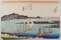 série des 53 stations de la route du tokaido. planche 19 - ejiri by ando hiroshige