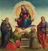 madonna delle cintola with saints benedict, thomas, francis and julian by francesco granacci
