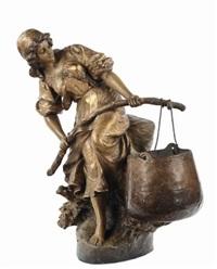 raffigurante giovane donna by friedrich goldscheider