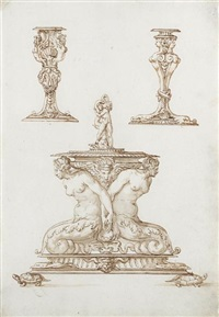 candlesticks and a covered salt cellar resting on turtles (design) by jacopo strada