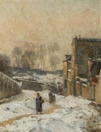 personnages dans la neige, la rue cortot, montmartre by stanislas lépine