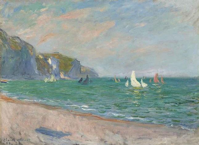 bateaux devant les falaises de pourville by claude monet