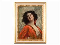 lady in red dress by franz wobring