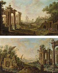 capriccio mit ruinen und staffage (+ another; pair) by joseph constantine stadler