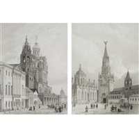 the church of the assumption (+ the kremlin towers, moscow; 2 works) by jules arnout
