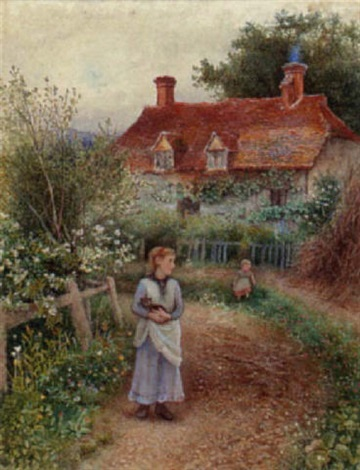 children holding a cat before a cottage by alice squire