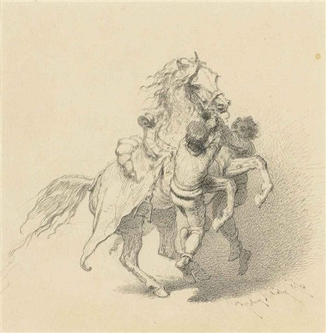 a horse rearing 7 others 8 works by mihály von zichy