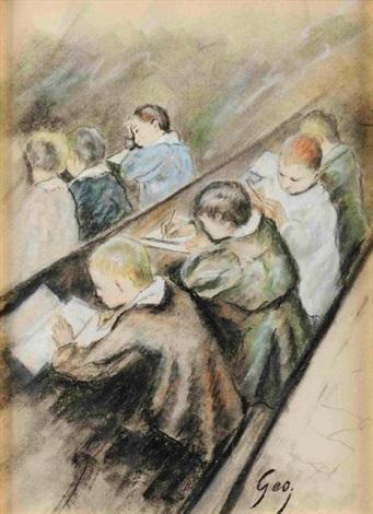 en classe le travail des petits preparatory drawing by henry jules jean geoffroy