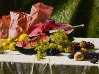 fruit still life on draped table by robert nadler