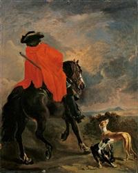 rückenansicht eines reiters mit zwei hunden by adriaen beeldemaker