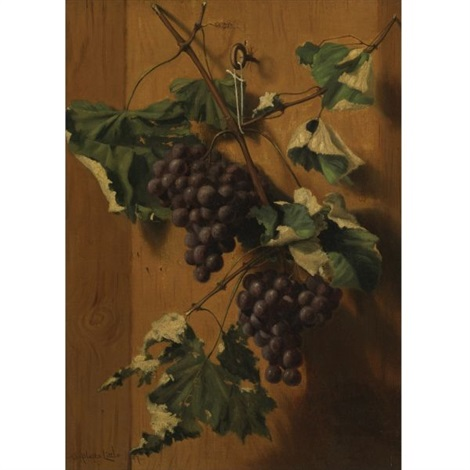 grapes hanging on a wall by a platte little