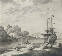 a dutch man'o-war at anchor in the mediterranean, lying off a jetty, with figures on the foreshore by adriaen van salm