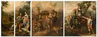 eliezer et rebecca au puits; la rencontre d'isaac et rebecca; l'alliance de jacob et de laban suite (4 works) by german school (18)