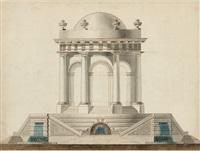 élévation d'un pavillon avec son soubassement orné de trois fontaines by lesquene