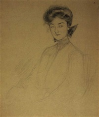 young lady (+ another, pencil; 2 works) by gertrude partington albright