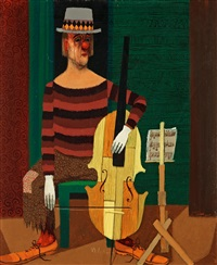 clown playing cello by pelle aberg