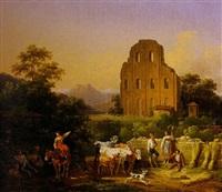 paysage d'italie aux bergers by hippolyte lecomte