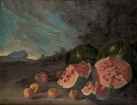 bodegón con sandias y membrillos by rafael de la torre