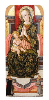 madonna and child enthroned with saint vincentes ferre and bernardinus by pietro alamanno