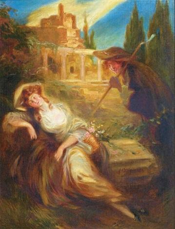 jeune femme surprise by ferdinand bac