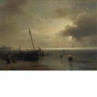 fisherfolk on the beach by hermann herzog