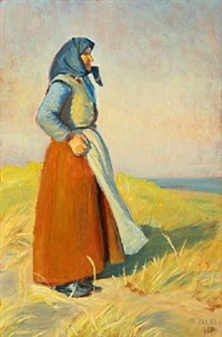 costal scenery with a fisherman's wife overlooking the sea by michael peter ancher