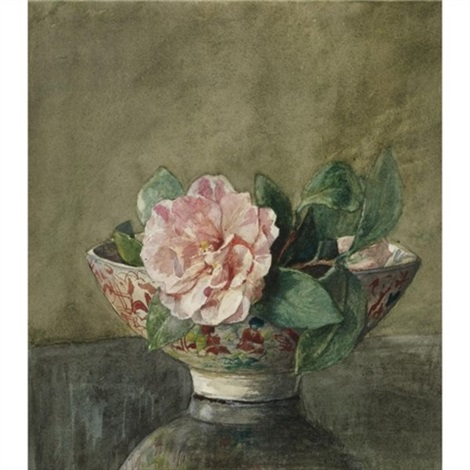 Camellia In Old Chinese Vase On Black Lacquer Table By John La Farge