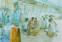early morning, koki market by margaret hannah olley