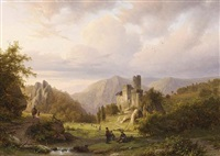 anglers in a mountainous landscape by alexander joseph daiwaille
