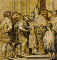 saint ambrose and emperor theodosius by abraham van diepenbeeck