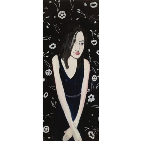 long haired brunette with white wallpaper by chantal joffe