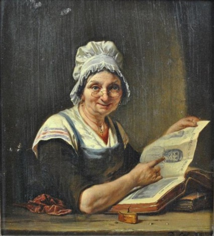 woman with book describing indians by jan david col