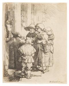 beggars receiving alms at a door by rembrandt van rijn