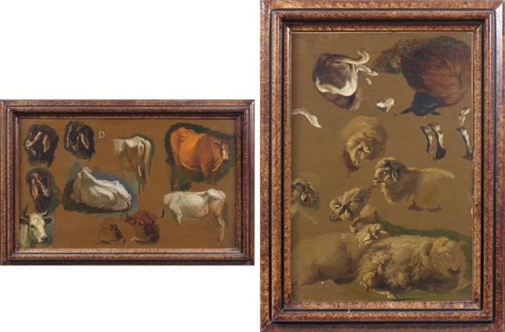 moutons et chien de berger study boeufs et boucs study smllr 2 works by francesco londonio