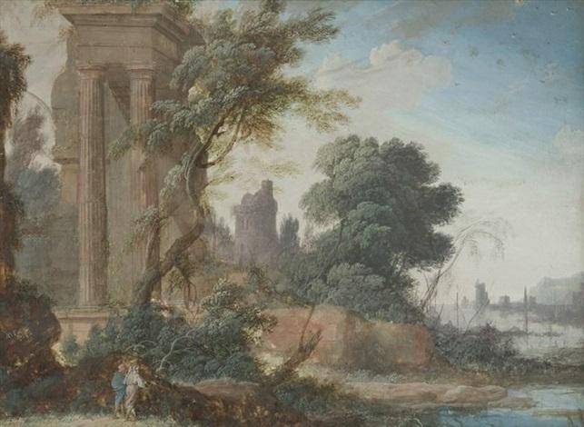 deux promeneurs près des ruines dun temple au bord dune rivière se jetant dans la mer by pierre antoine patel