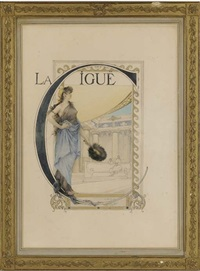 a study for the cover of la cigue by emile augier by edouard-marie-guillaume dubufe