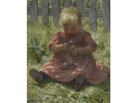 child with daisies by mia arnesby brown