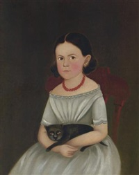 a little girl with her black cat by william w. kennedy