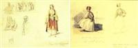 studies of figures in greek costume by johann hermann kretzschmer
