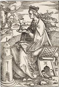 die heilige barbara (+ christus am kreuz zwischen den schächern; 2 works) by hans baldung grien