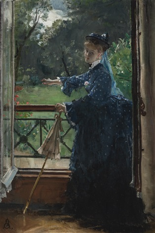 femme au balcon by alfred stevens