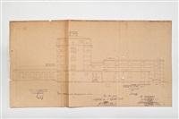 plan für die erweiterung des lagerhauses, der trockenkammern und der schlosserei (4 works) by walter gropius