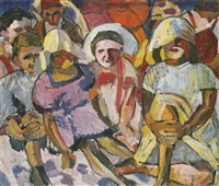 children with parasols by aristarkh vasilevich lentulov